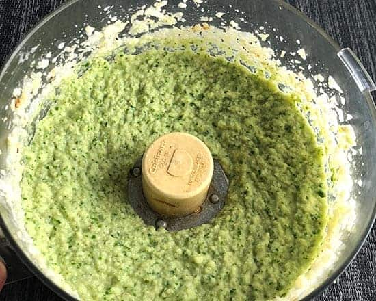 roasted cauliflower and kale purée in a food processor.