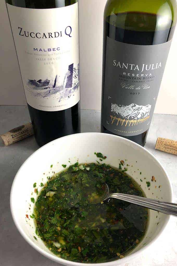 Chimichurri sauce is a natural pairing for Malbec wines from Argentina.