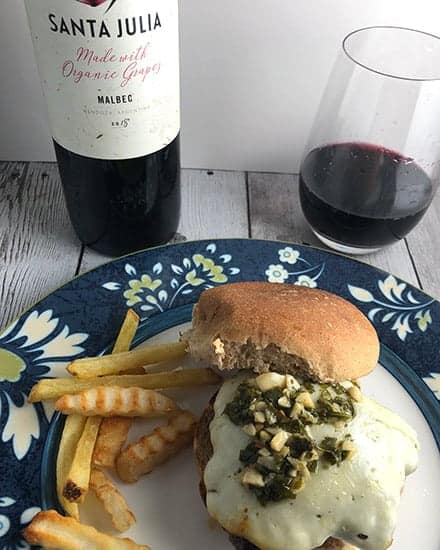 chimichurri cheeseburger with a Malbec red wine.