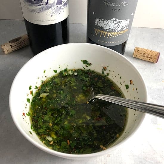 bowl of chimichurri sauce