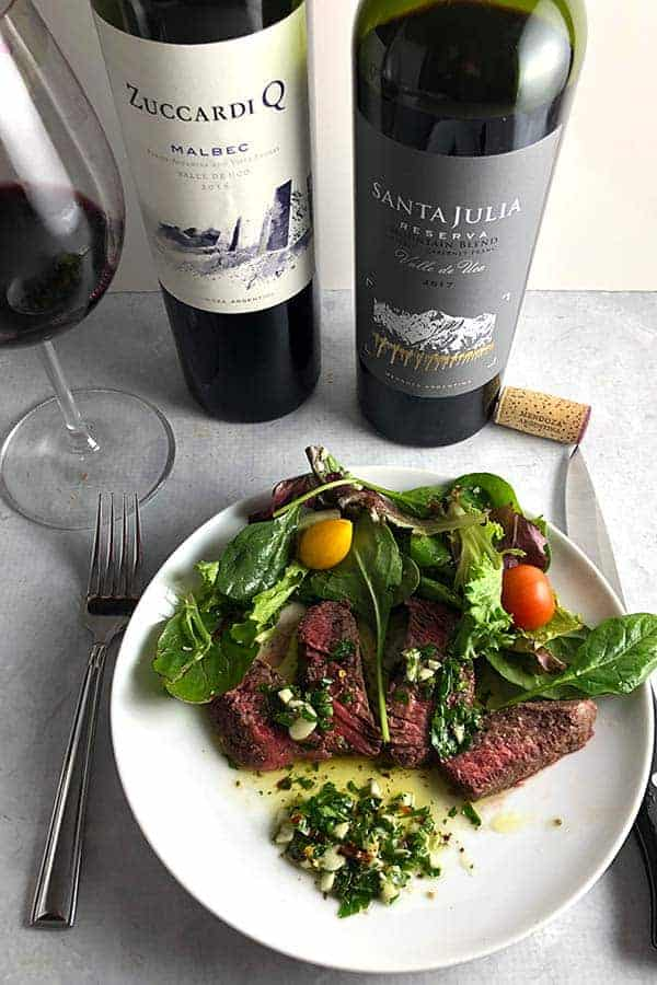 Roasted Chimichurri Steak is delicious with the classic zesty sauce from Argentina, along with a good Malbec. #chimichurri #Argentina #Malbec #sponsored