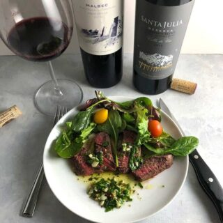 chimichurri steak paired with wines from Argentina