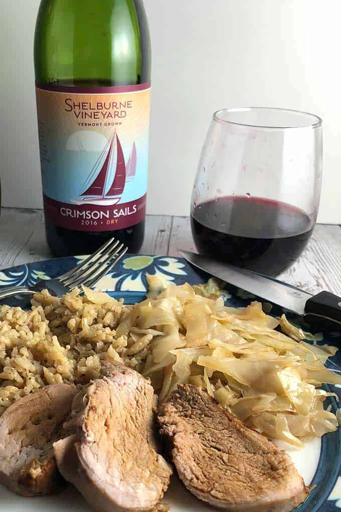Shelburne Vineyard Crimson Sails red wine is a blend of two cold climate grapes, Marquette and Petite Pearl. #wine #VermontWine