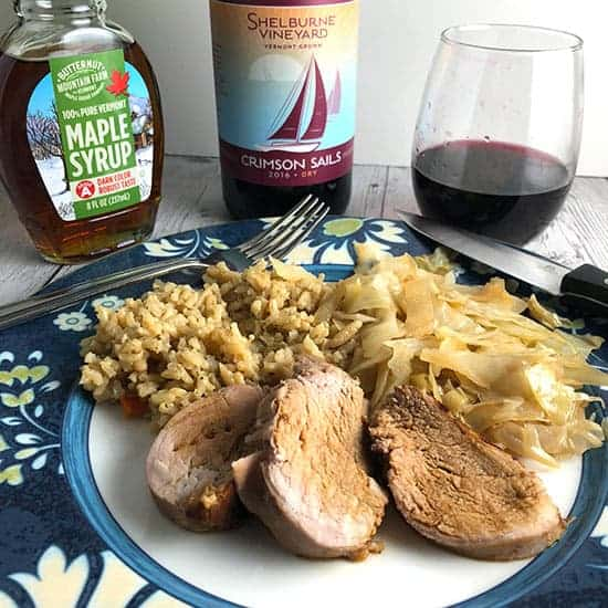 Maple Pork Tenderloin with rice, cabbage and red wine.