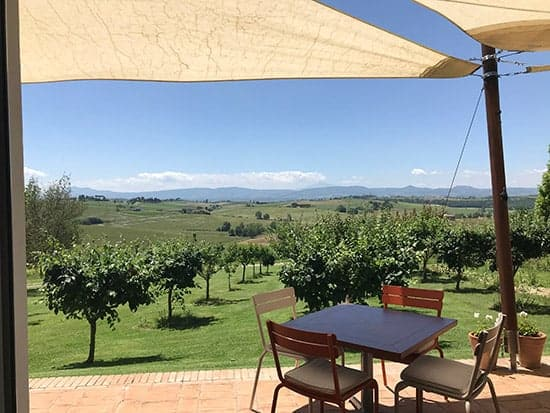 view from patio of Avignonesi winery in Tuscany.