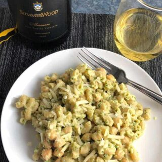 Paso White Wine Paired With Creamy Cauliflower Pasta