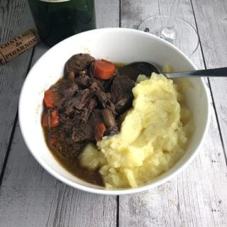 beef daube served with mashed potatoes.
