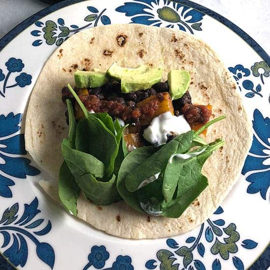 easy black bean tacos on a plate.
