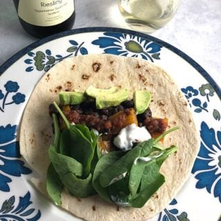 Easy Black Bean Tacos with Avocado and a Riesling