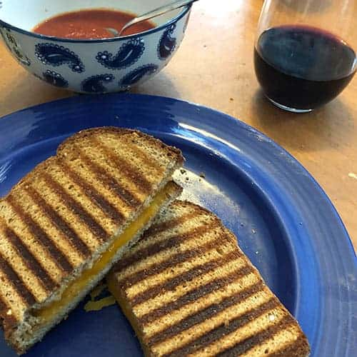 grilled cheese with tomato soup and a Tannat wine.