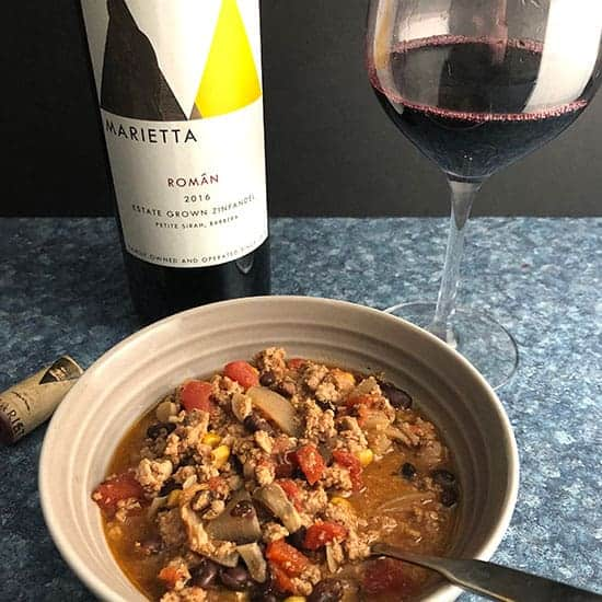 zinfandel paired with turkey chili.