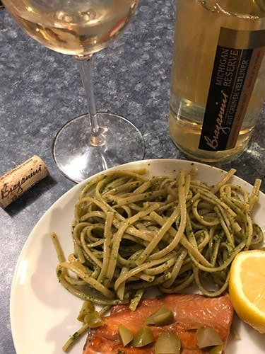 bottle of Gruner Veltliner with a plate of pasta.