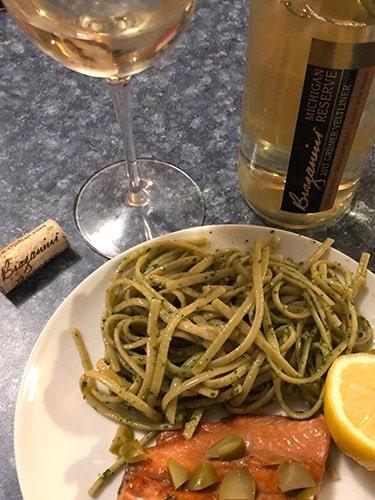 bottle of Gruner Veltliner with a plate of pasta.
