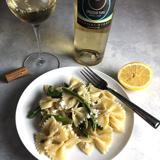 asparagus goat cheese pasta paired with Donnachiara Greco di Tufo