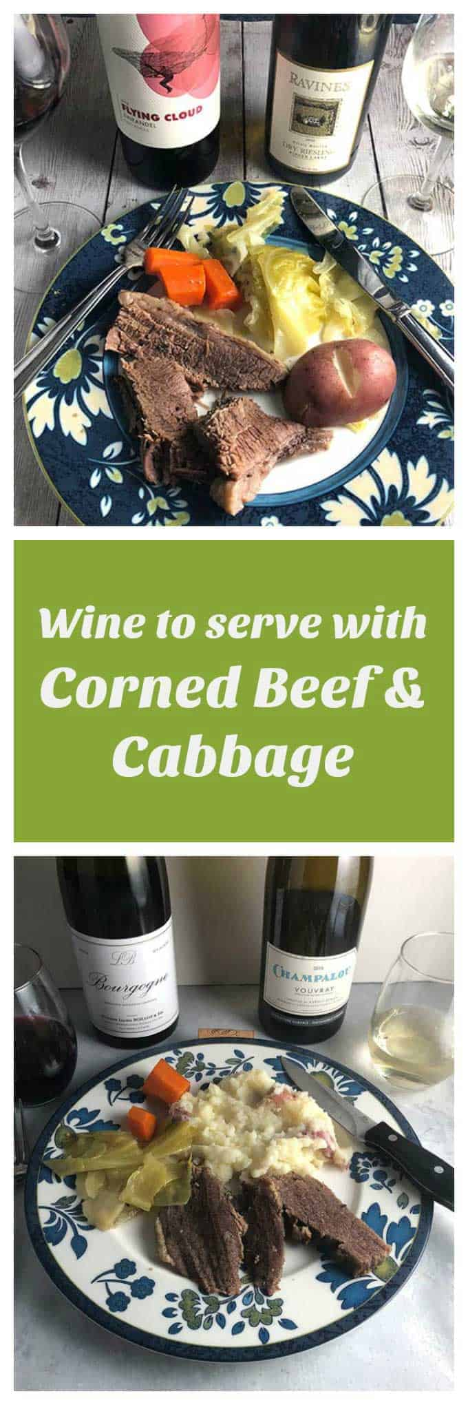 Collage with two images of wine served with corned beef and cabbage.