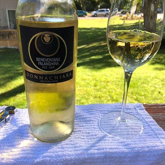 bottle of beneventano Falanghina white wine.