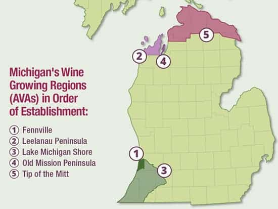 map of Michigan's wine regions.