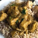 Indian Butter Chicken on a white plate.