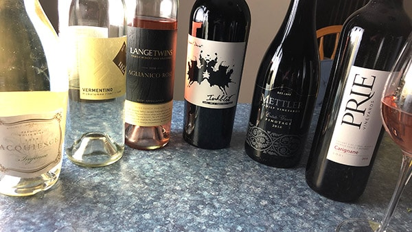 a lineup of wines from Lodi, California.