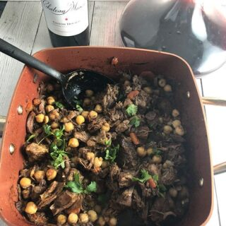 tagine served with red wine