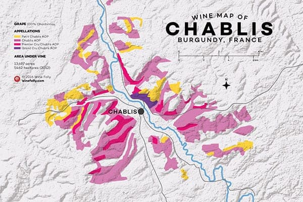 map of Chablis wine region