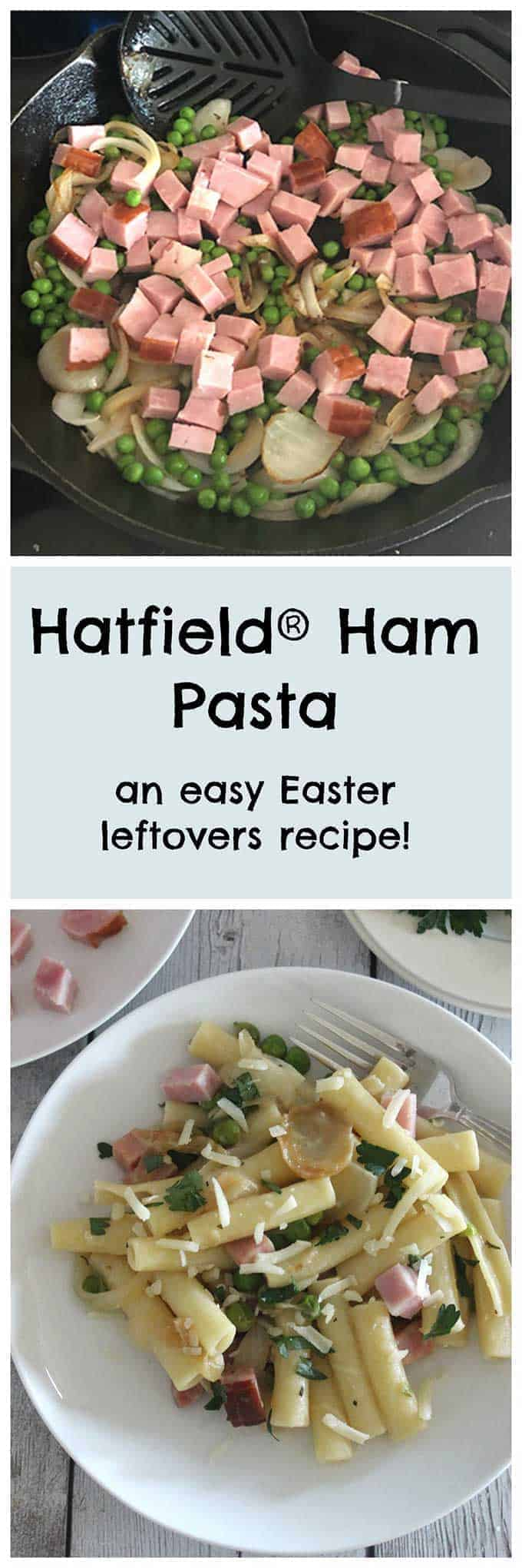 an image of ham, peas and onions in a skillet on top, and a picture of ham pasta below it.