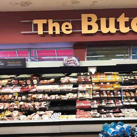 butcher section at Hannaford, with a selection of Hatfield Ham products.