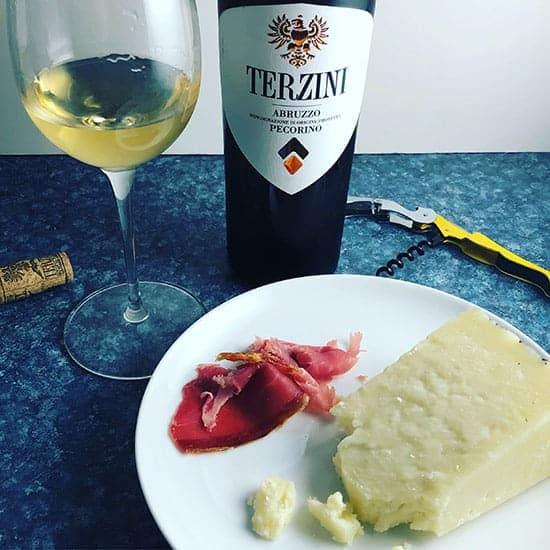 Pecorino white wine served with prosciutto and Pecorino cheese.