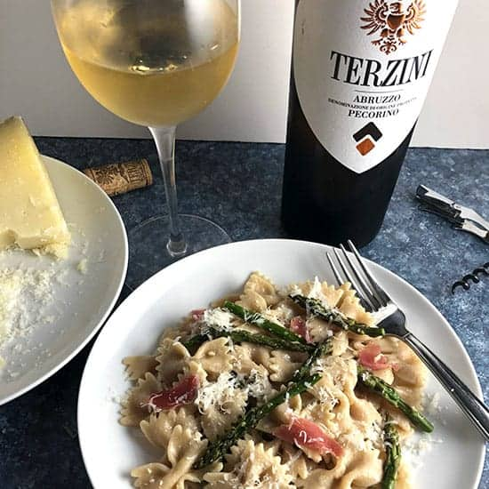 roasted asparagus pasta with Pecorino white wine from Abruzzo.