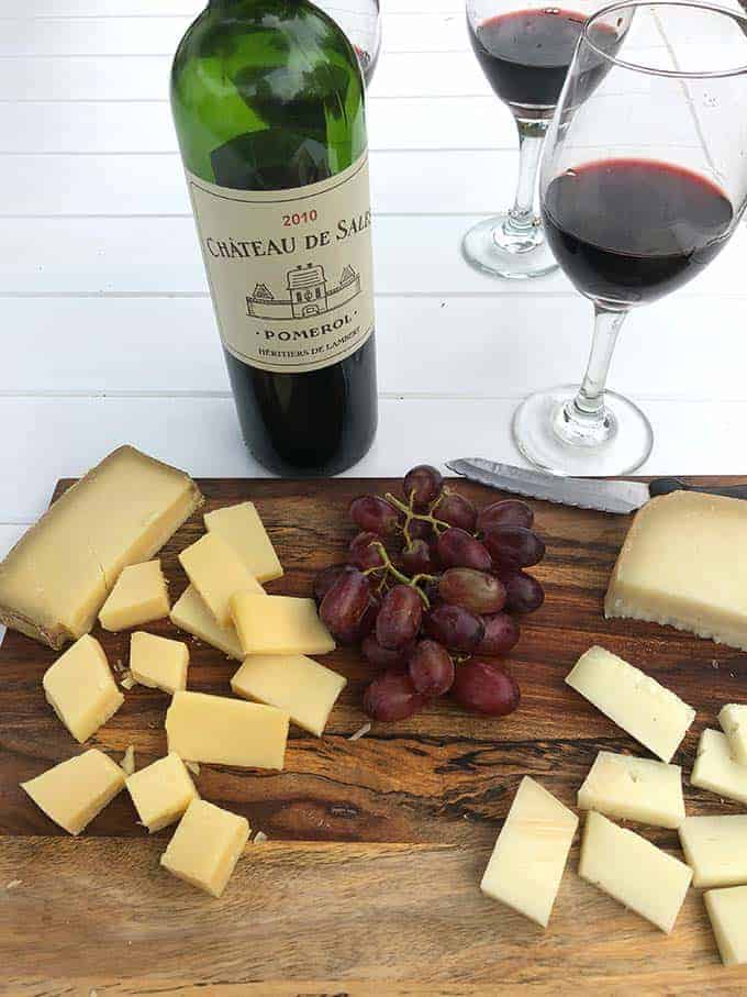 Chateau de Sales Pomerol red wine with cheese.