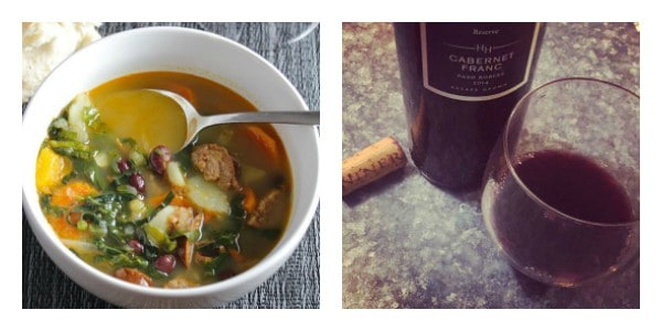 bowl of Portuguese kale soup alongside Niner Cabernet Franc wine.