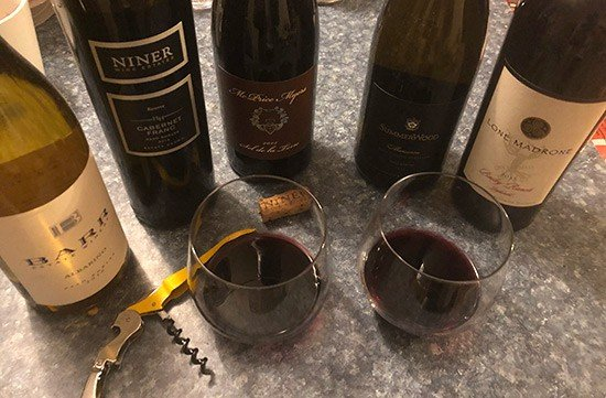 lineup of Paso Robles wines