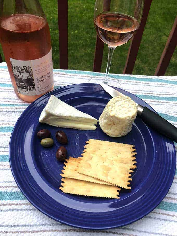 Coteaux du Vendômois rosé paired with French cheeses.