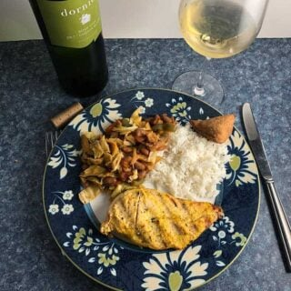 South African Chicken with chakalaka served with Chenin Blanc.