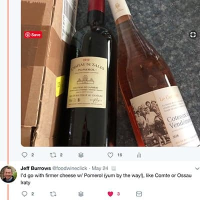 screen shot of a tweet from foodwineclick about cheese picks for French wine.