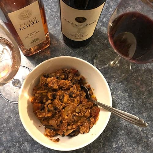 a rosé and a Paso Zinfandel with a bowl of turkey chili