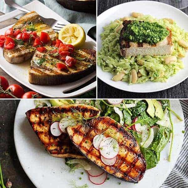 collage of swordfish recipes