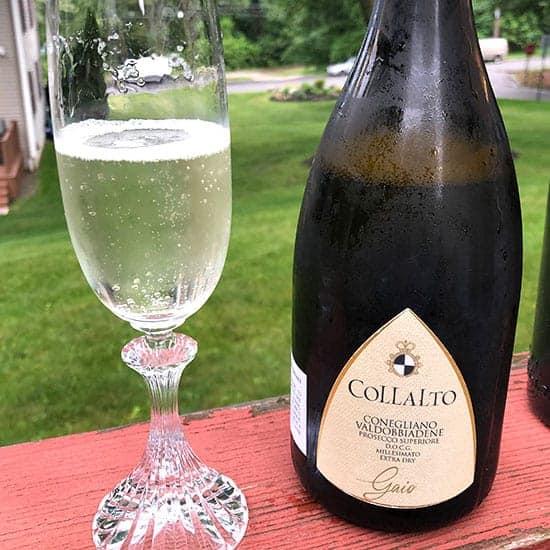 bottle and class of Collalto Prosecco Superiore