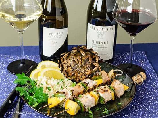 swordfish skewers with roasted artichokes and wine pairings.