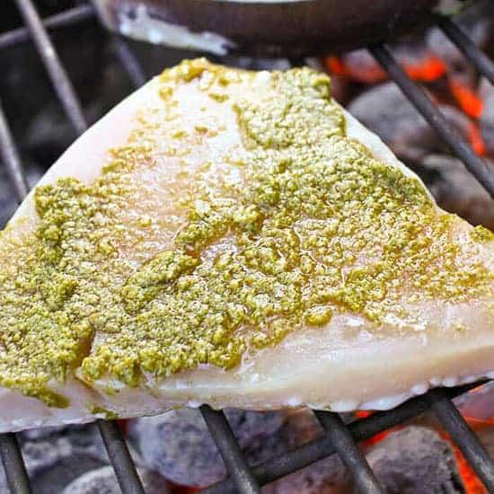 grilled swordfish with pesto