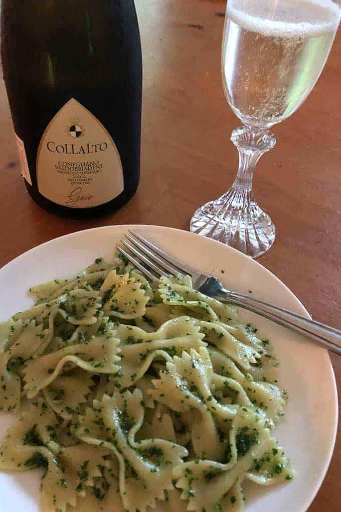 Prosecco Superiore paired with kale pesto pasta.