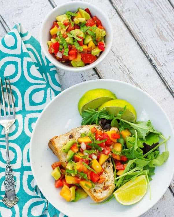 grilled swordfish with fruit salsa