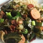 Brazilian Beans, Greens and Bacon on a plate