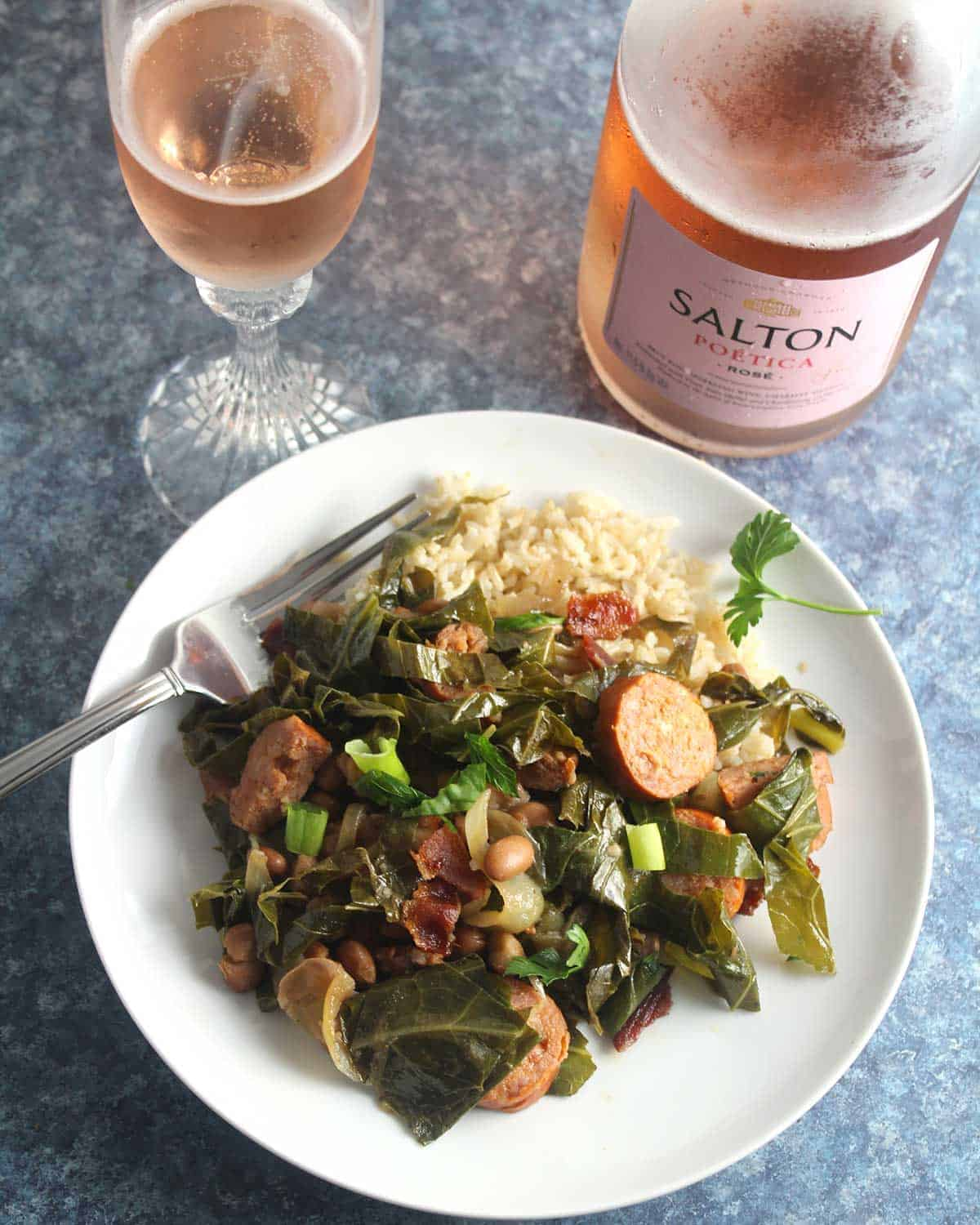 Brazilian Beans, Greens and Bacon served with sparkling wine.