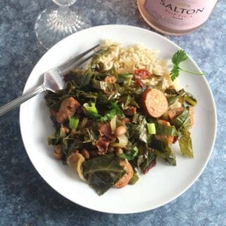 Brazilian Beans, Greens and Bacon with Sparkling Wine #winePW