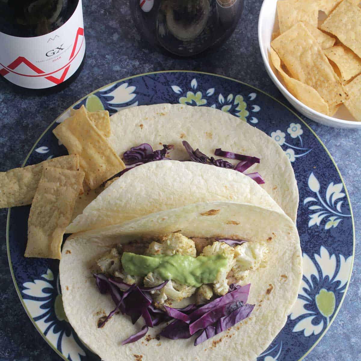 wine pairing with cauliflower tacos