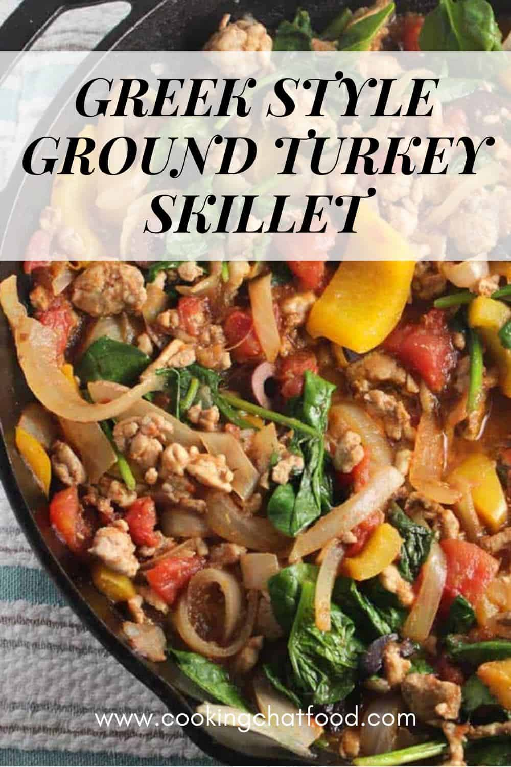 close up of skillet with ground turkey and vegetables with a text overlay.