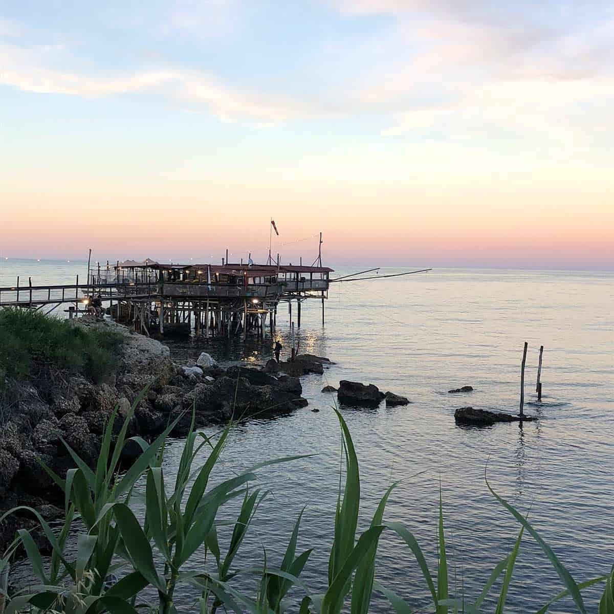 A trabocco on the coast of Abruzzo.