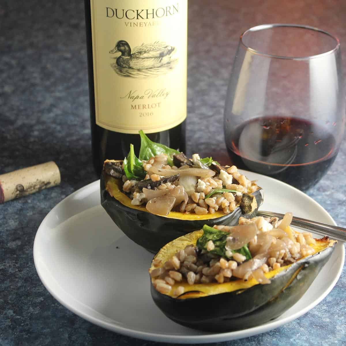 vegetarian stuffed acorn squash with red wine