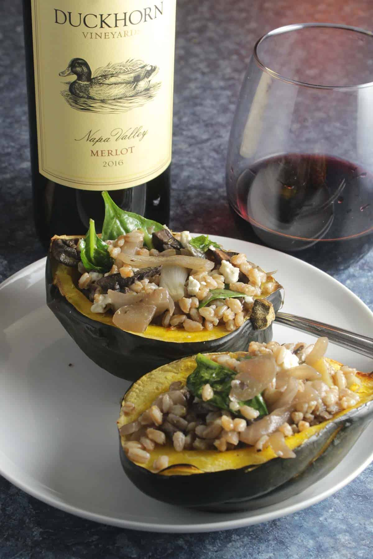 vegetarian stuffed acorn squash plated